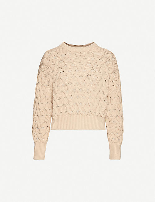 BRUNELLO CUCINELLI Open-knit cotton-blend knitted jumper