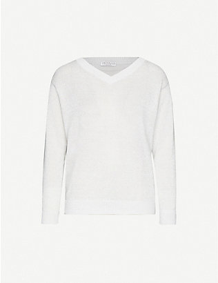 BRUNELLO CUCINELLI: V-neck metallic-knit jumper