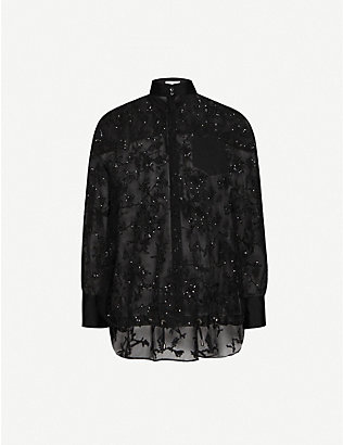 BRUNELLO CUCINELLI: Floral-embroidered loose-fit lace shirt