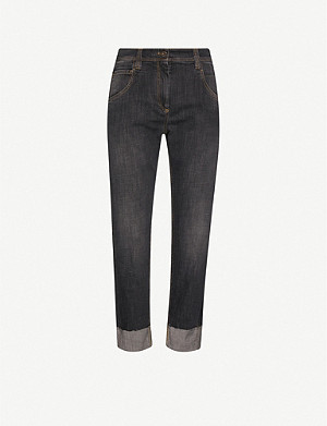 BRUNELLO CUCINELLI Turned-up straight mid-rise jeans