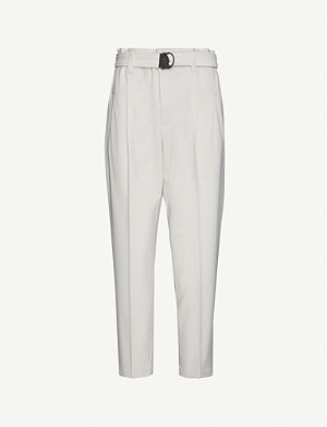BRUNELLO CUCINELLI Paper bag waist high-rise tapered gabardine trousers