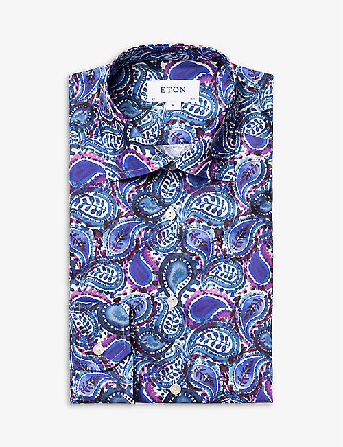 ETON: Paisley-print slim-fit cotton-twill shirt