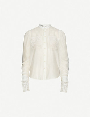 RENLI SU: Lace-trim wool-blend shirt