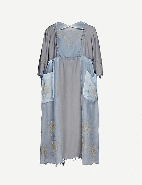 RENLI SU: Puffed-sleeve rayon and linen-blend midi dress