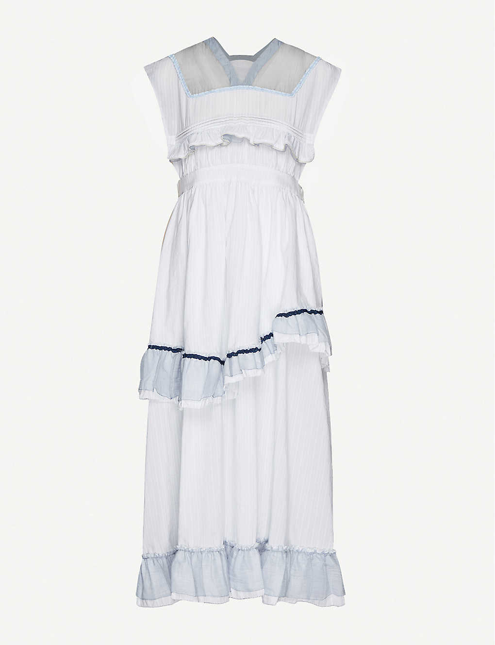 RENLI SU: Frilled-trim woven midi dress