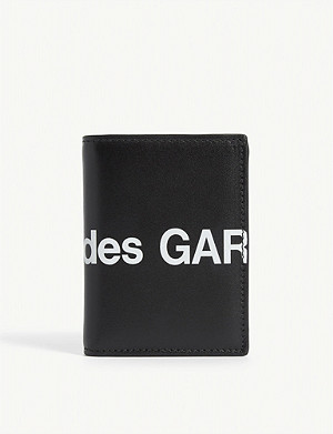 COMME POCKET Logo print leather wallet