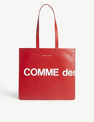 COMME POCKET: Leather logo tote