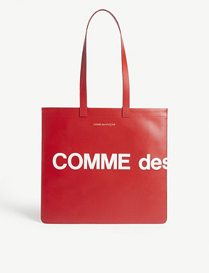 COMME POCKET Leather logo tote