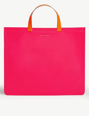 COMME POCKET Fluorescent leather tote bag