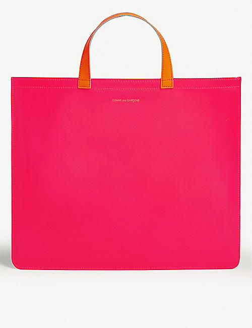 COMME POCKET: Fluorescent leather tote bag
