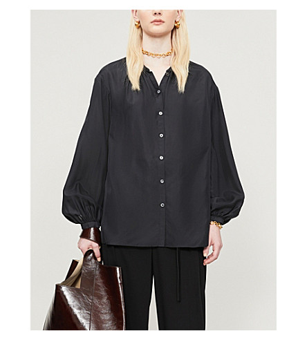 Joseph Silks BOWELL COLLARLESS SILK BLOUSE