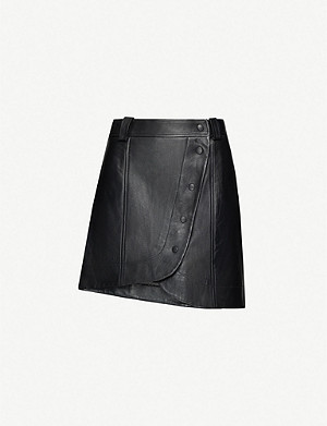 GANNI Curved-hem leather mini skirt