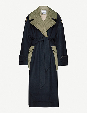 GANNI Contrasting panel belted wool-blend coat