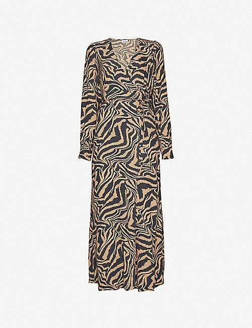 GANNI Tiger-print wrap-front crepe maxi dress