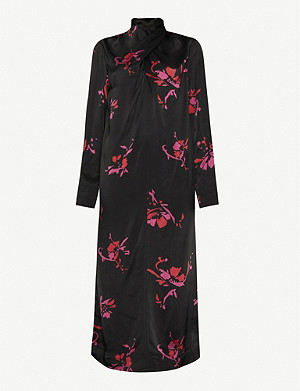 GANNI Floral-print high-neck crepe midi dress