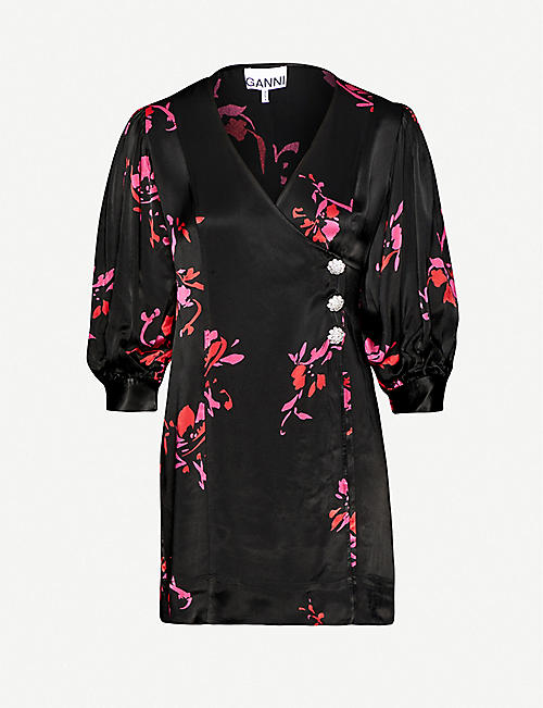 GANNI Floral-print wrap-over crepe mini dress