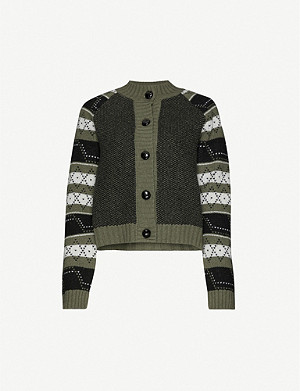 GANNI Patterned cropped wool-blend cardigan