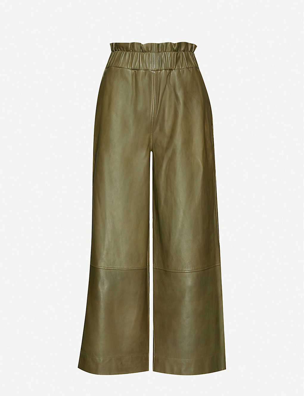 GANNI: High-rise wide leather trousers