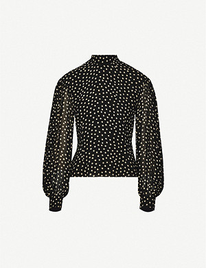 GANNI High-neck polka dot crepe blouse