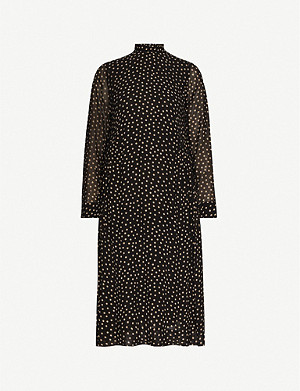 GANNI Polka dot-patterned crepe dress