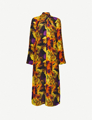 GANNI Tied-neck floral-print crepe midi dress