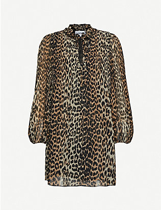 GANNI: Georgette leopard-print woven mini dress