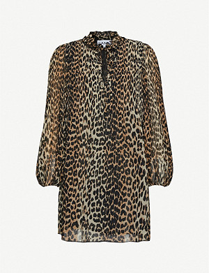 GANNI Georgette leopard-print woven mini dress