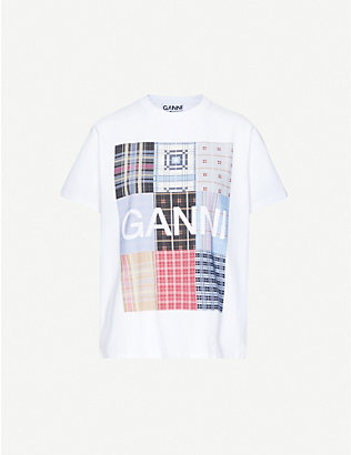GANNI: Check-print cotton-jersey T-shirt
