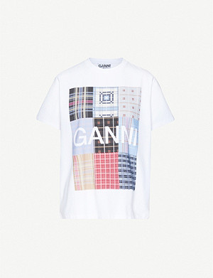 GANNI Check-print cotton-jersey T-shirt