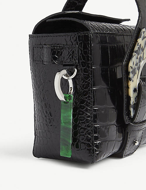 GANNI Small croc-embossed leather bag