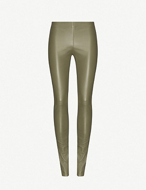 JOSEPH Stretch high-rise leather leggings