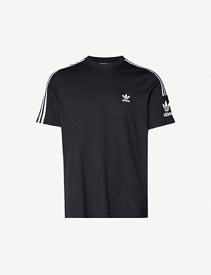 ADIDAS Logo-embroidered cotton-jersey T-shirt