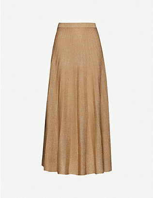 JOSEPH: Pleated metallic midi skirt