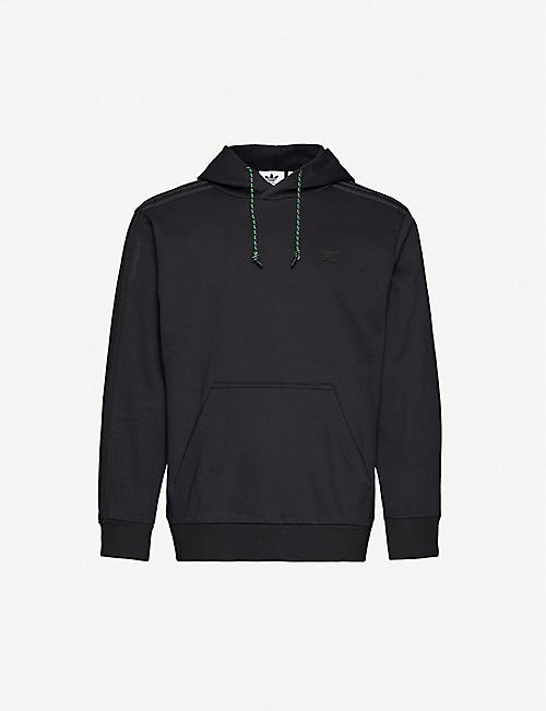 ADIDAS: Logo-embroidered cotton-blend jersey hoody