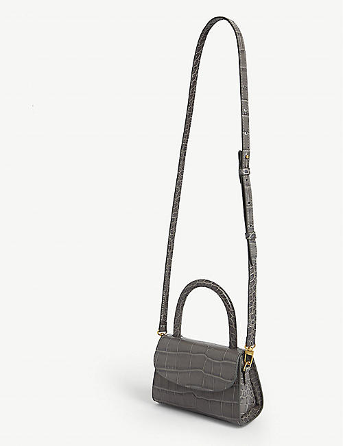 BY FAR Mini croc-embossed leather cross-body bag