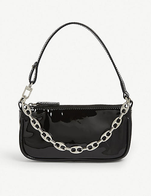 BY FAR Mini Rachel patent leather shoulder bag