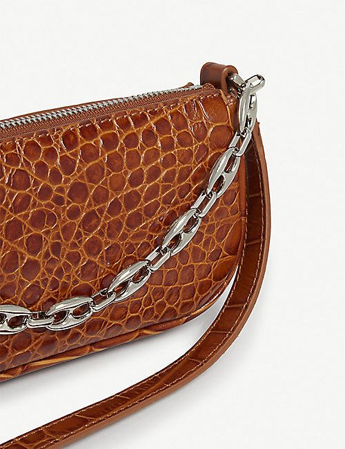 BY FAR Mini Rachel croc-embossed leather shoulder bag