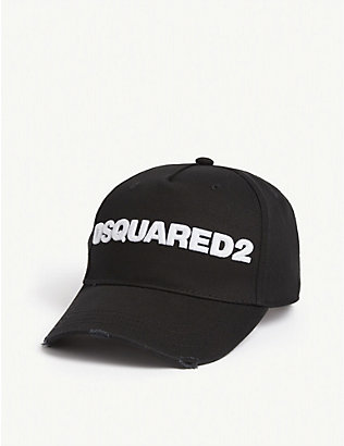 DSQUARED2 ACC: Logo distressed cotton baseball cap