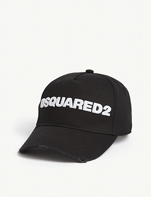 DSQUARED2 ACC Logo distressed cotton baseball cap
