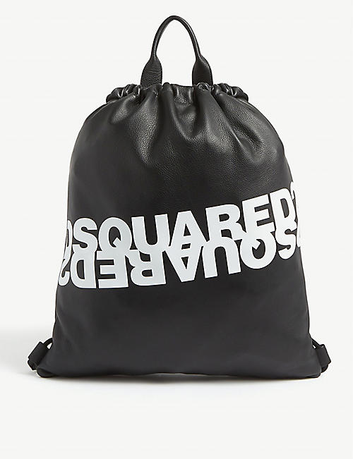 DSQUARED2 ACC Reflected logo leather drawstring bag