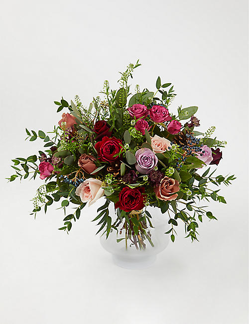 THE REAL FLOWER COMPANY Red Antique and Plum scented bouquet