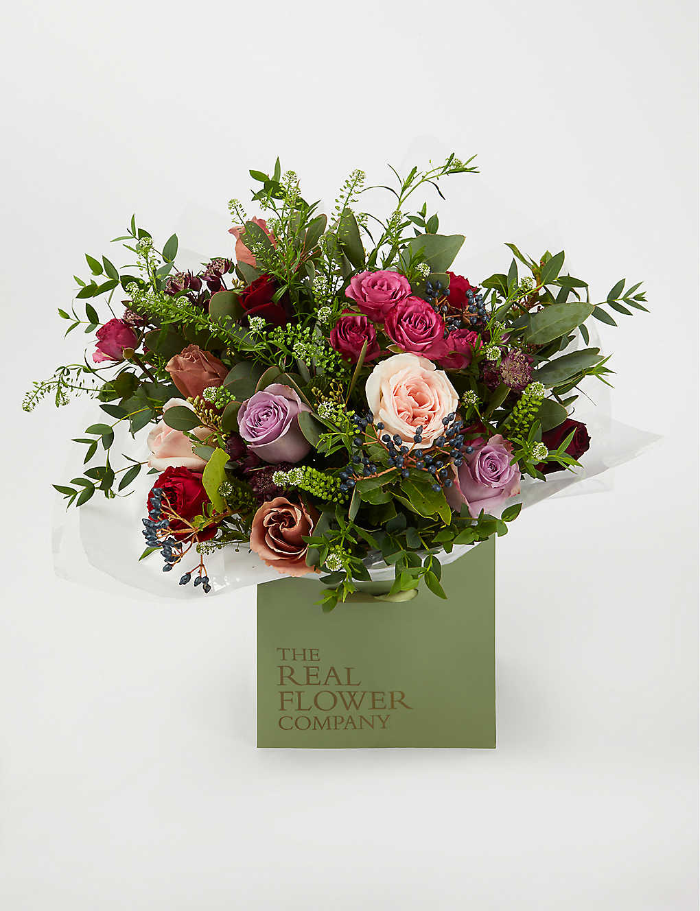THE REAL FLOWER COMPANY: Red Antique and Plum scented bouquet