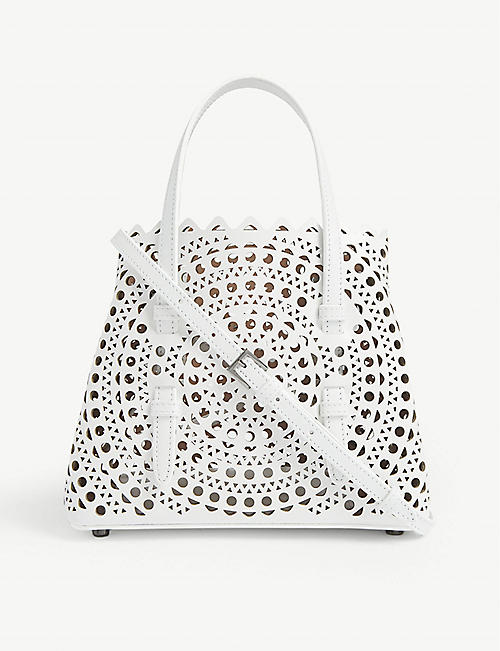 AZZEDINE ALAIA: Mina mini laser-cut leather cross-body bag