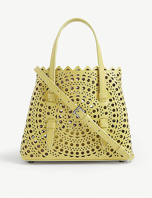 AZZEDINE ALAIA: Mini laser-cut leather cross-body bag