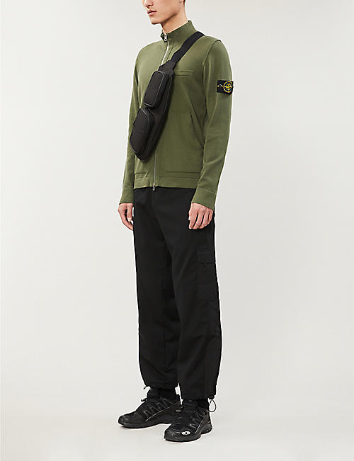 STONE ISLAND Logo-patch zip-through cotton-knit cardigan