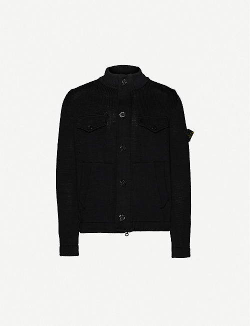 STONE ISLAND Logo-patch cotton-knit cardigan