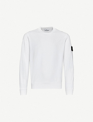 STONE ISLAND Brand-patch crewneck cotton-jersey sweatshirt