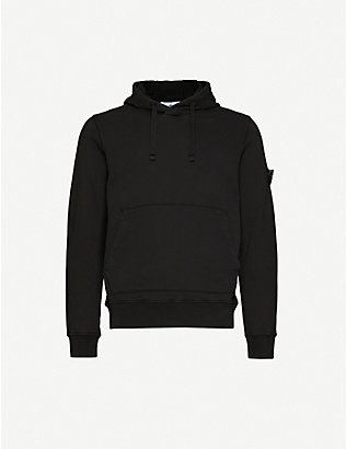 STONE ISLAND: Logo-embroidered cotton-jersey hoody