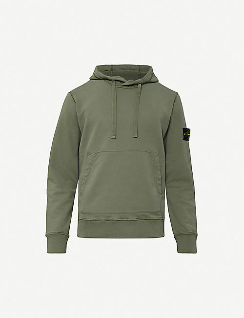 STONE ISLAND Logo-embroidered cotton-jersey hoody