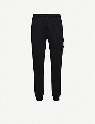 STONE ISLAND: Logo-embroidered cotton-jersey jogging bottoms